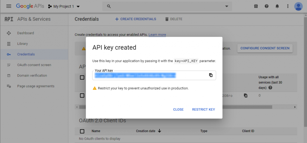 API key Youtube