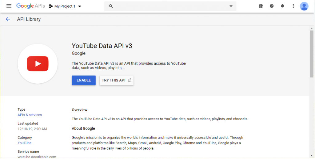 Enable Youtube API Google Sheets