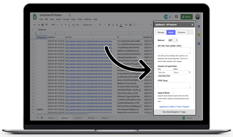 Import JSON to Google Sheets