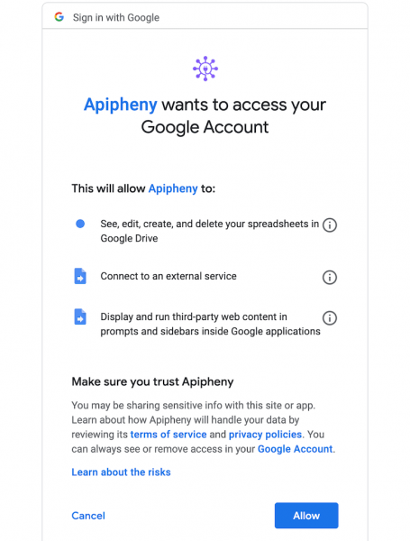 Apipheny Add-on Permissions