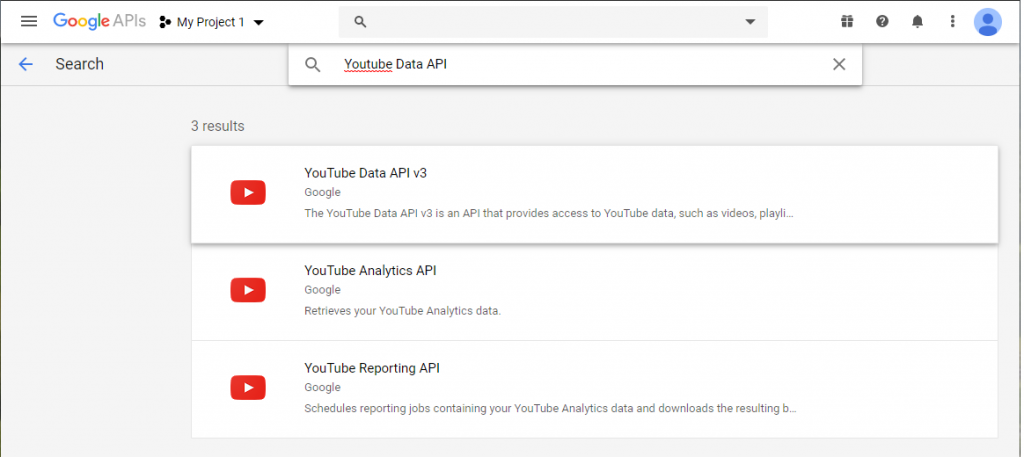 Youtube data API Google Sheets