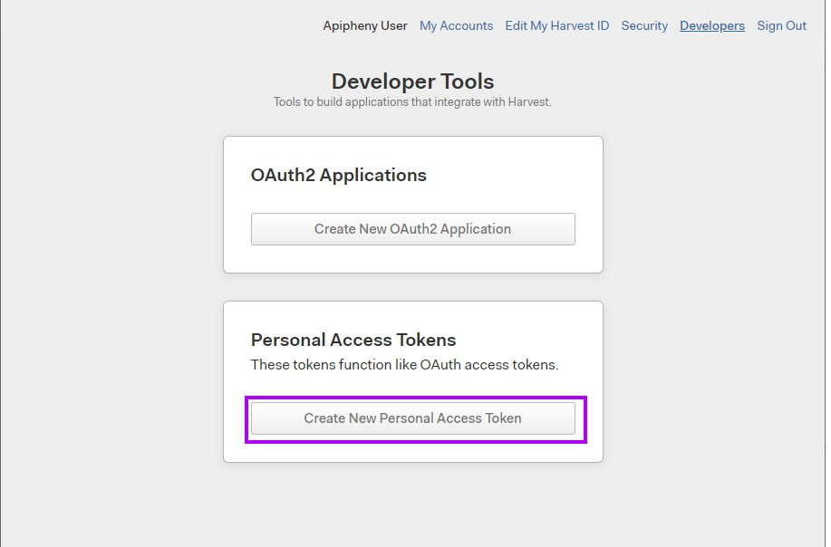 Create new Harvest personal access token