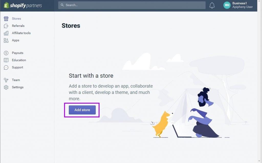 """Click """"Add store"""""""
