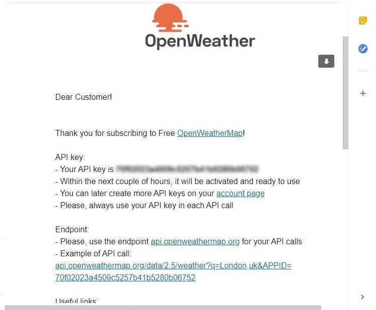 Email from OpenWeather with API key