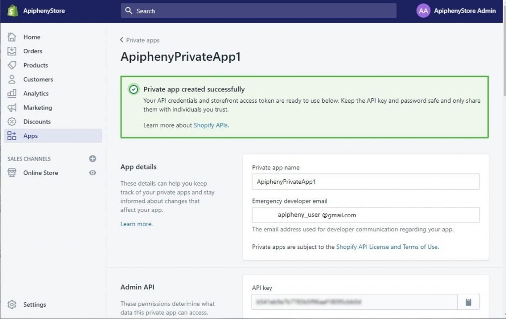 Private app has been created
