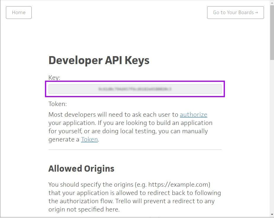 Trello API key