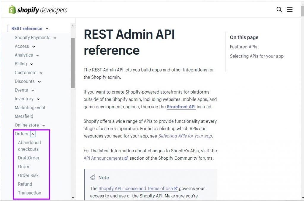 Shopify API documentation