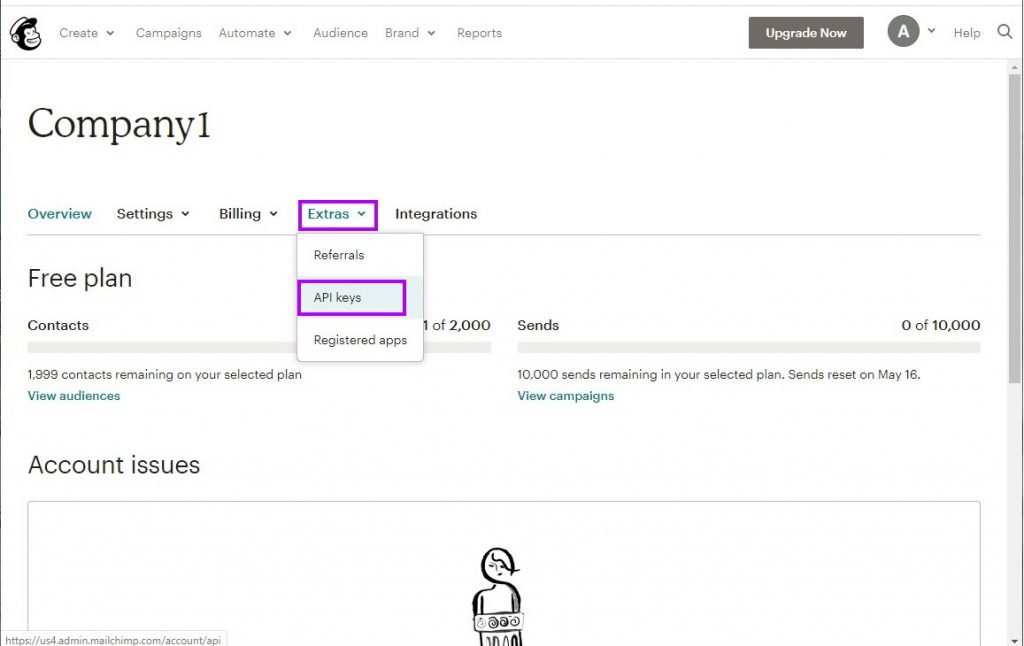 Click Extras > API keys