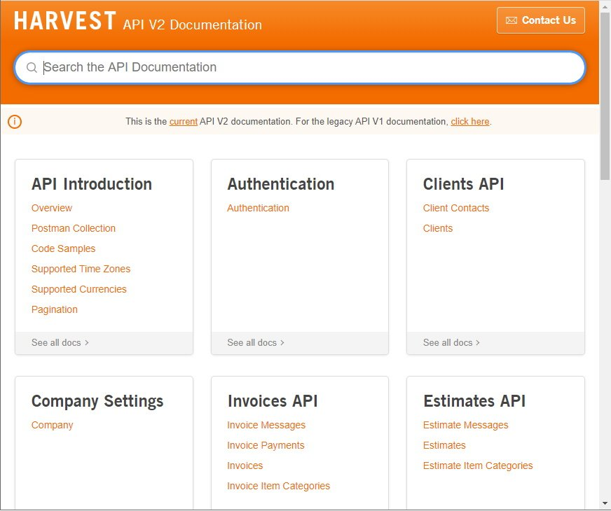 Harvest API Documentation