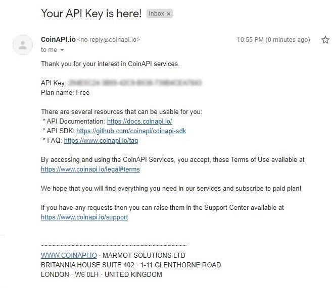CoinAPI key sent to my email