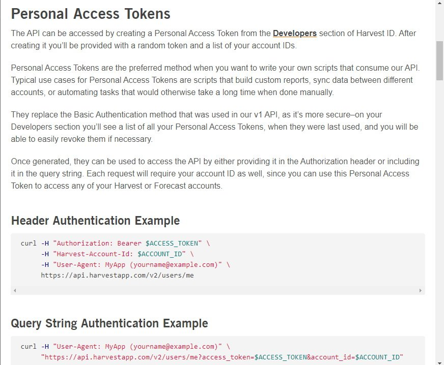 Personal Access Tokens - Harvest API