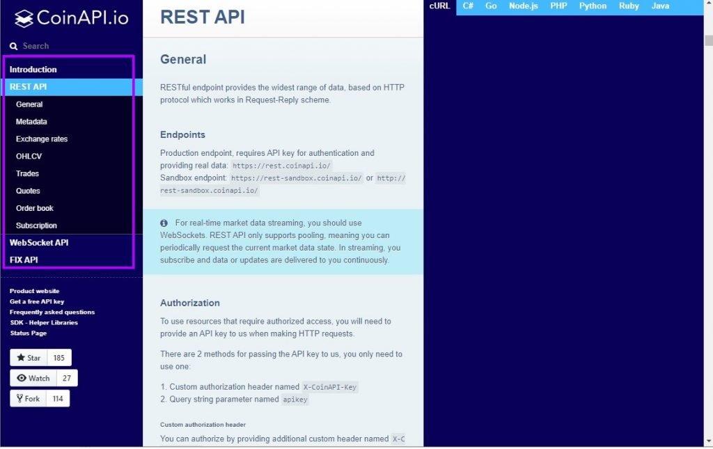 CoinAPI Documentation Page