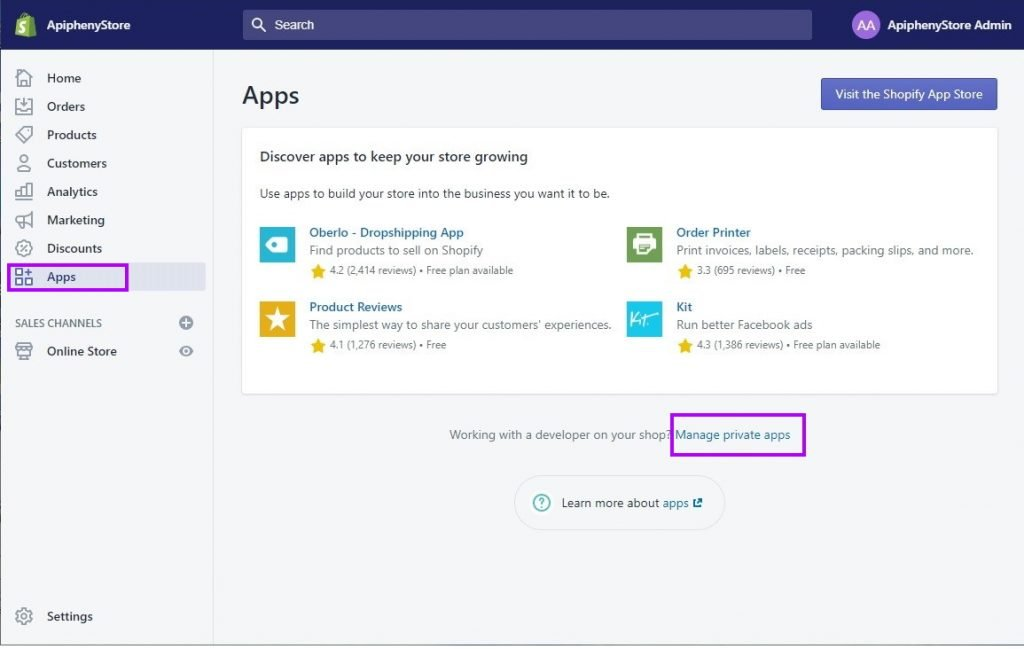 Shopify Apps > Manage private apps