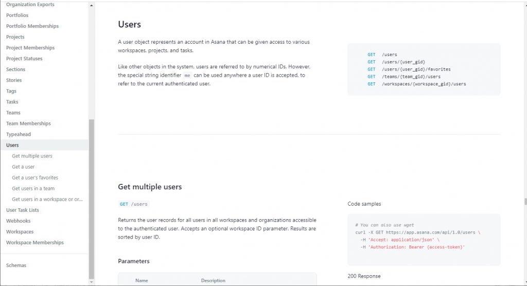 Asana Users API