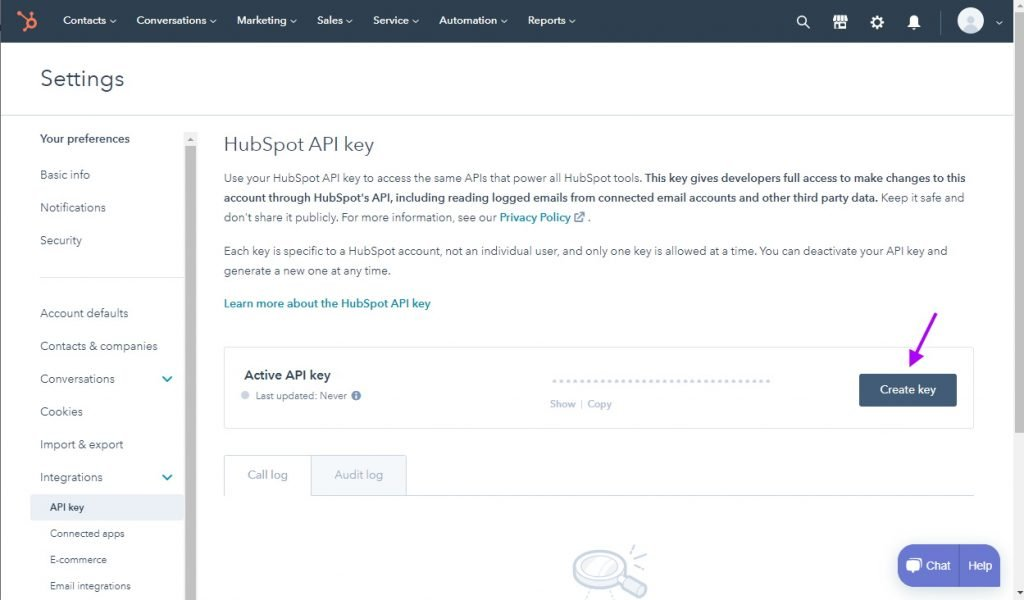 Create Hubspot API key