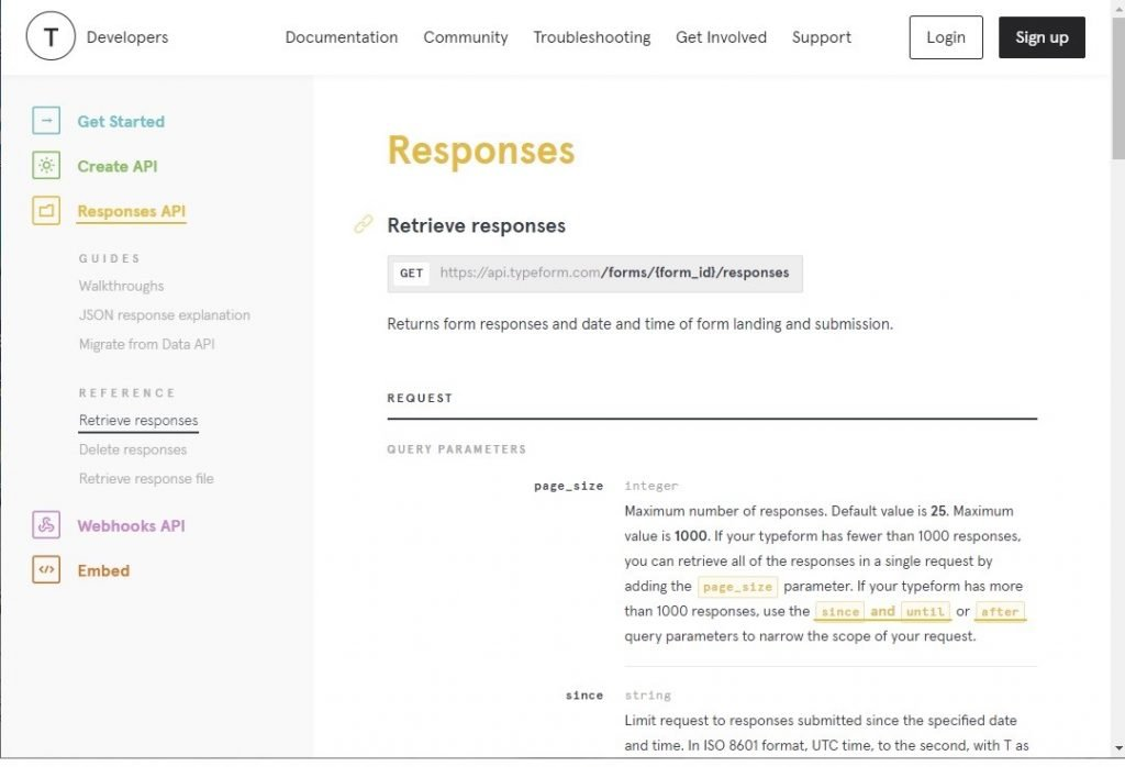 Typeform Responses API documentation