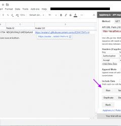 Github API data in Google Sheets
