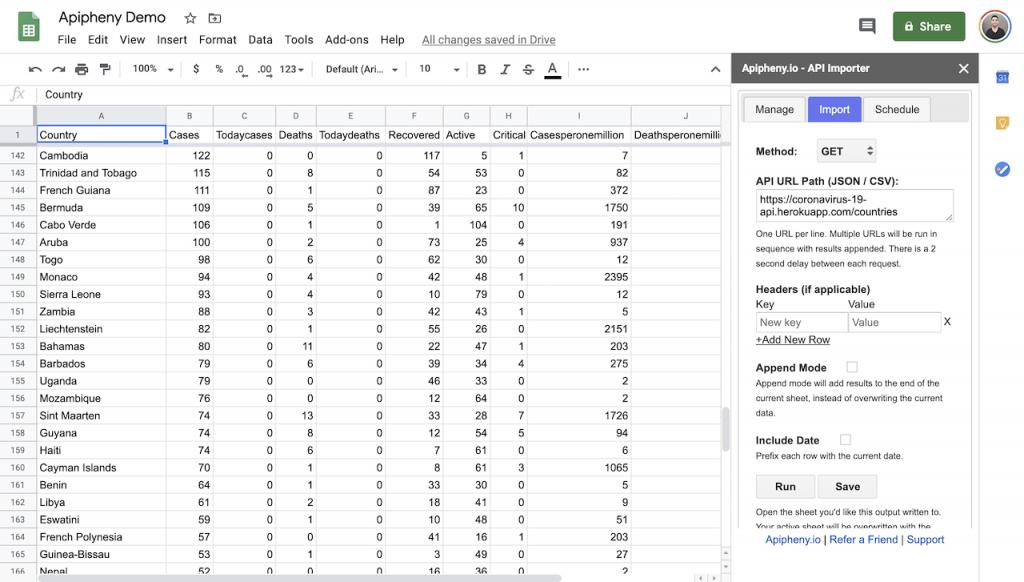 COVID API data in Google Sheets