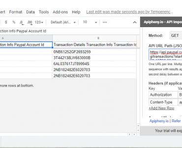 Paypal API data in Google Sheets