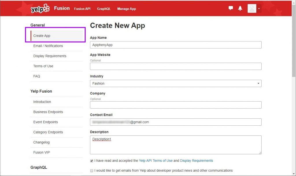 Create a new Yelp API App