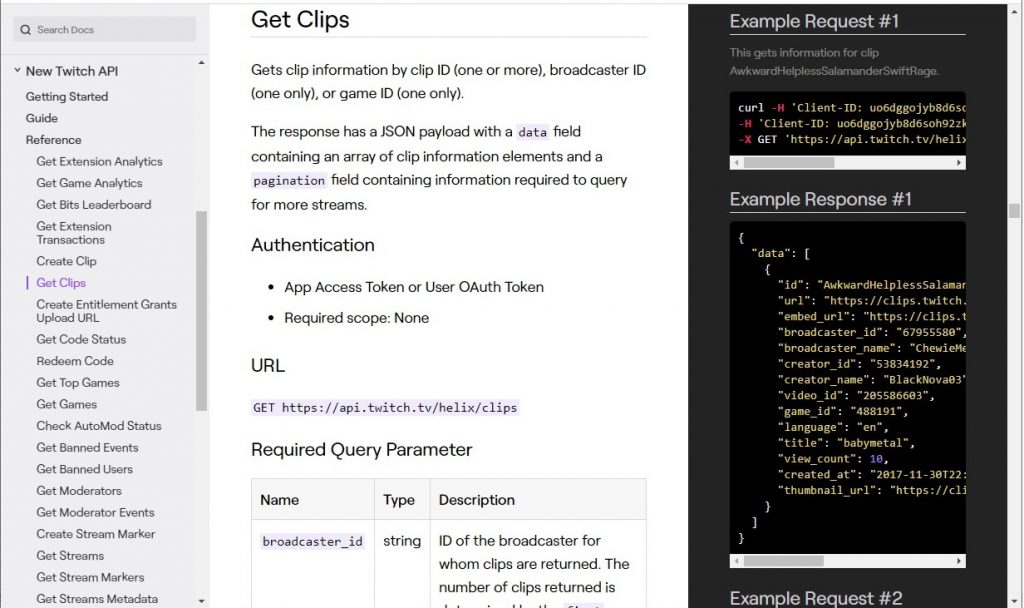 Get clips - Twitch API endpoint