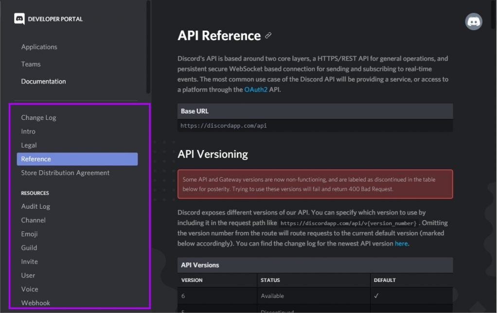 Discord API endpoints