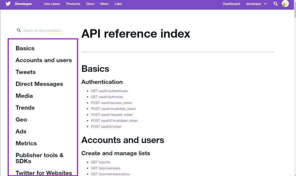 Twitter API documentation