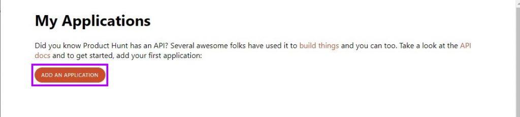 Product Hunt API: Add an Application