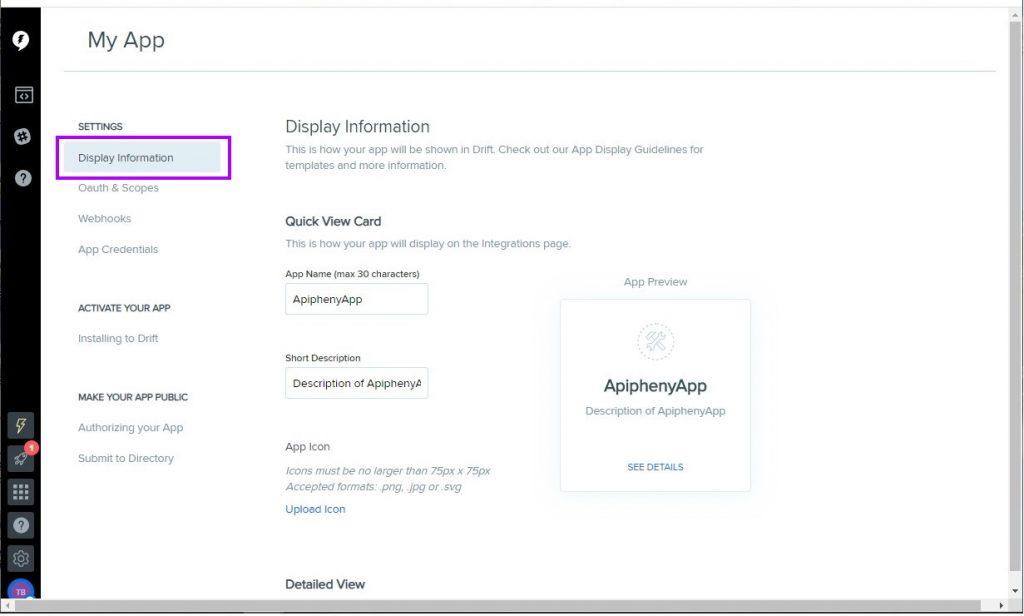 Enter Drift API app information