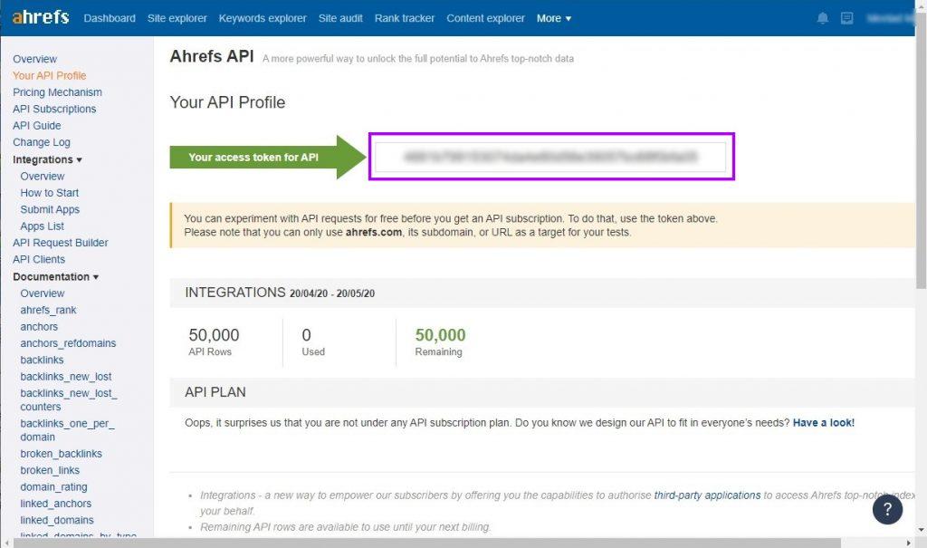 Ahrefs API Token