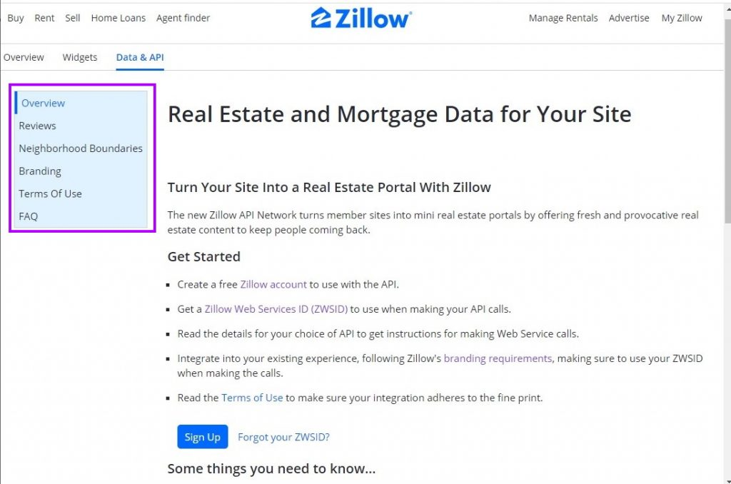 Zillow API Documentation