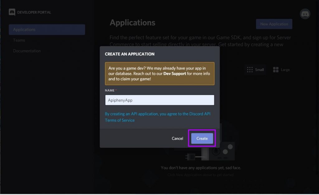 Create an application