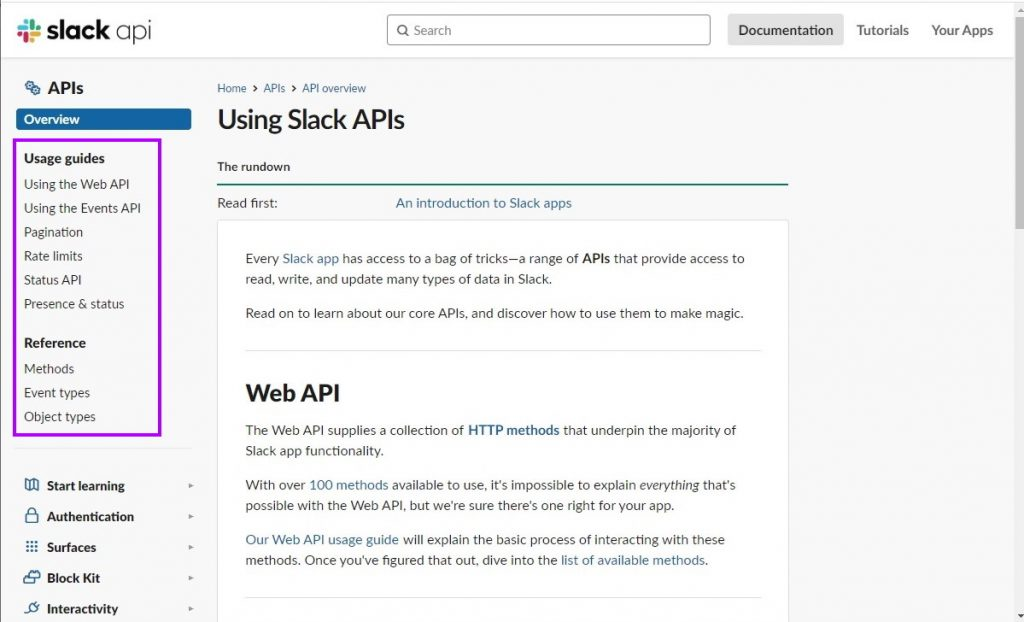 Slack API Documentation