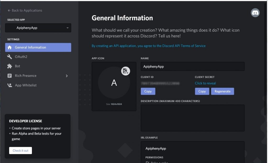 Discord app client ID and secret