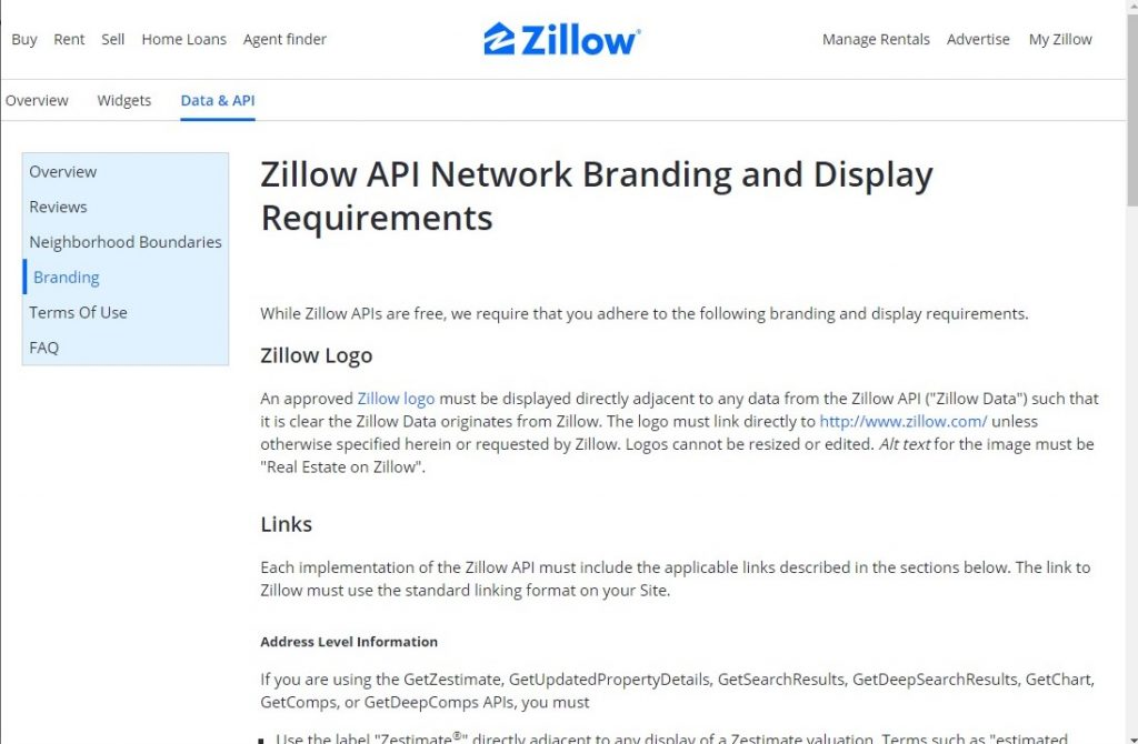 Zillow API Branding Section