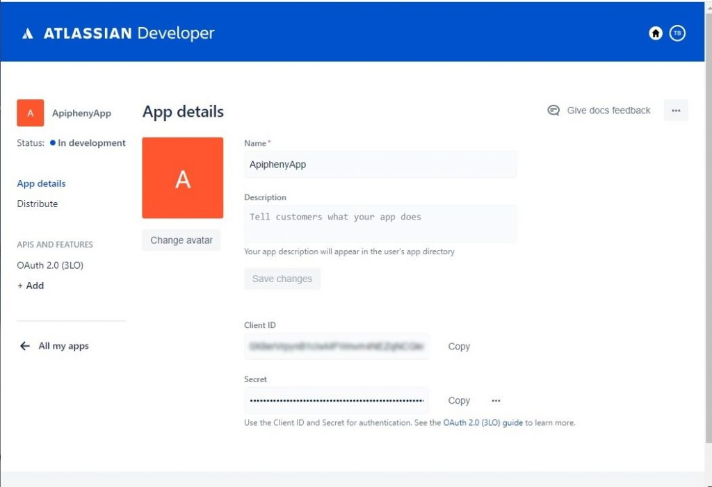 JIRA API App dashboard