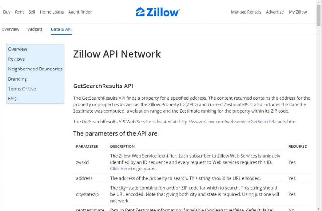 Zillow GetSearchResults API
