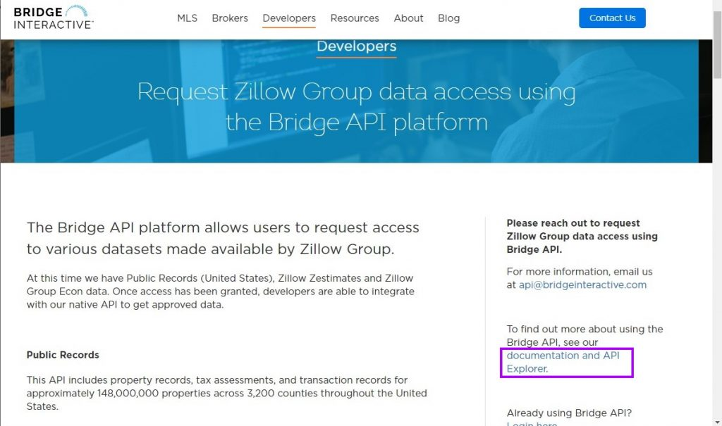 Zillow Brudge API documentation and API Explorer