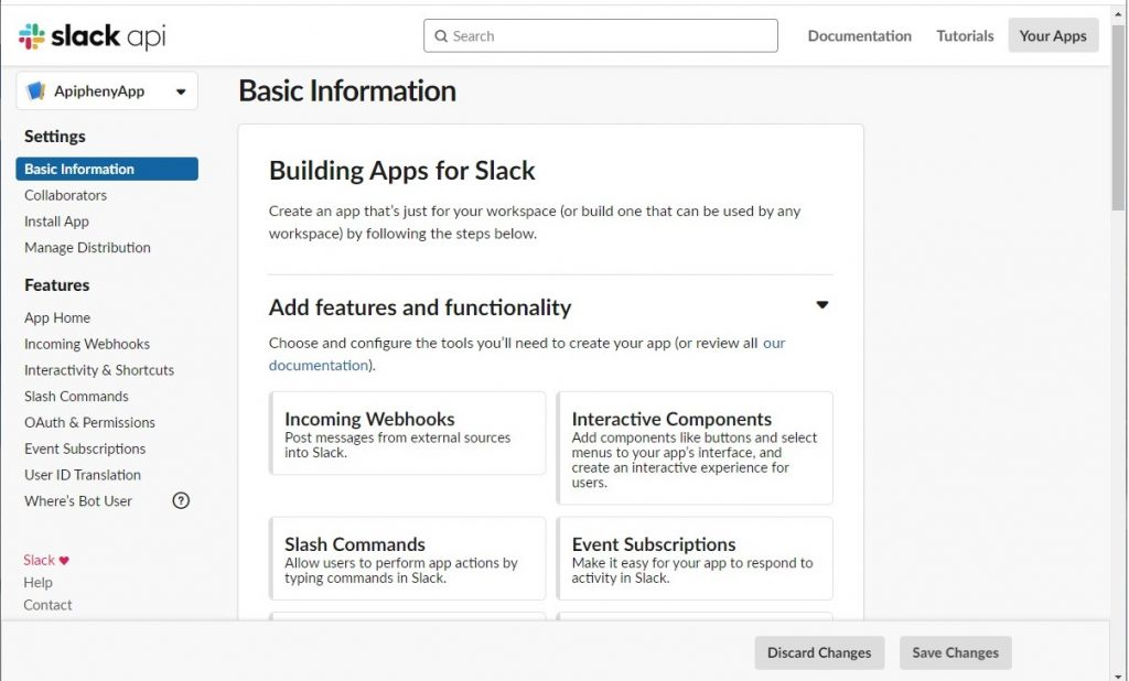 Basic Information dashboard for your Slack API App
