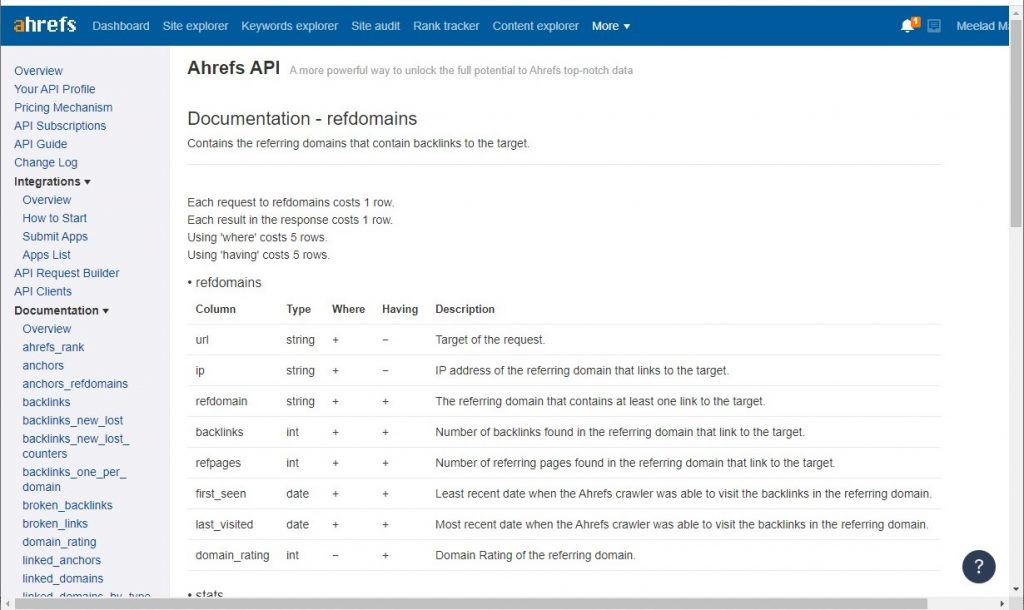 refdomains Ahrefs API endpoint documentation