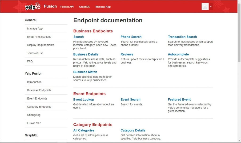 Yelp API Documentation