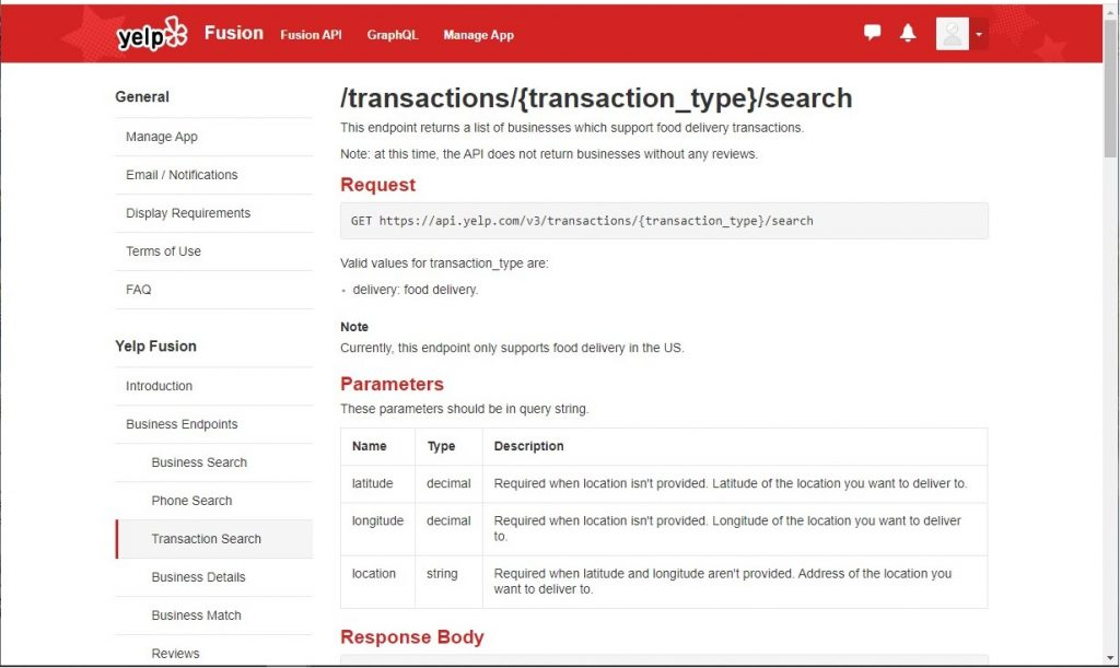 Yelp API - Transaction Search Endpoint