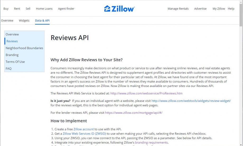 Zillow Reviews API