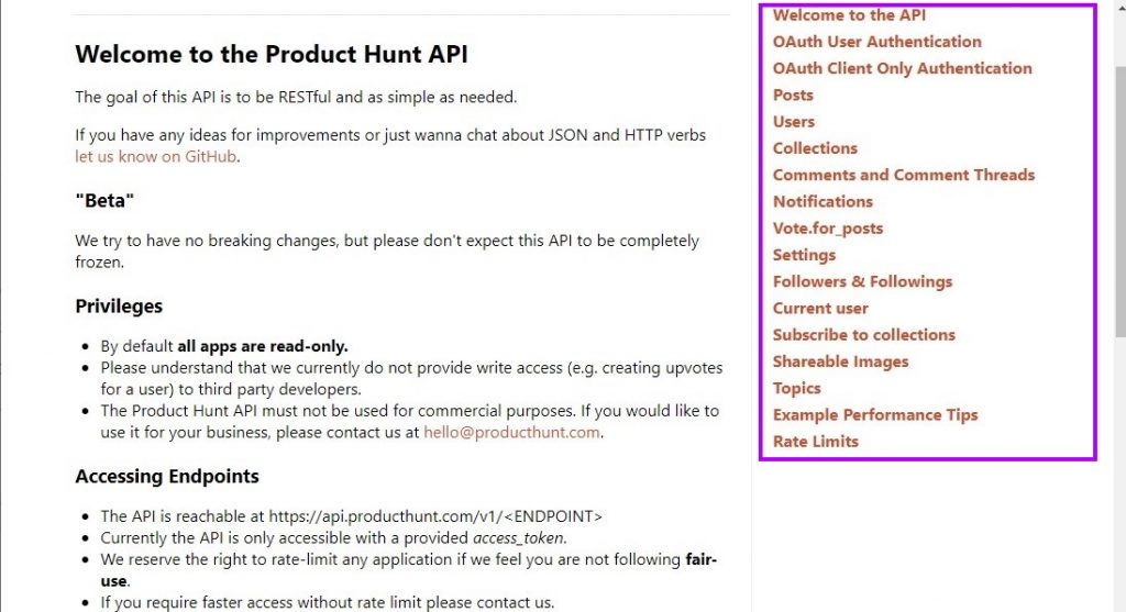 Product Hunt API Endpoints