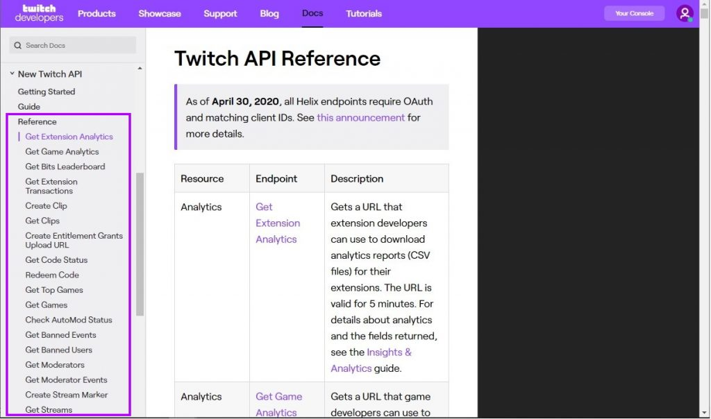 Twitch API endpoints
