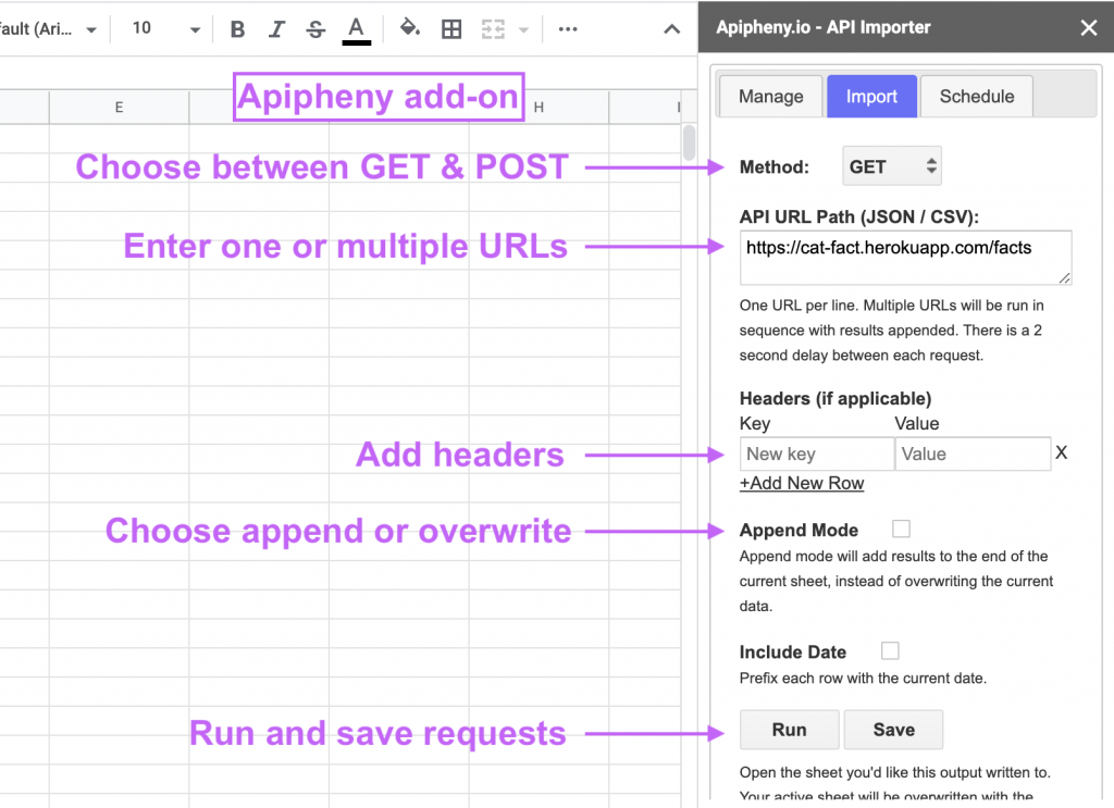 Apipheny add-on for Google Sheets