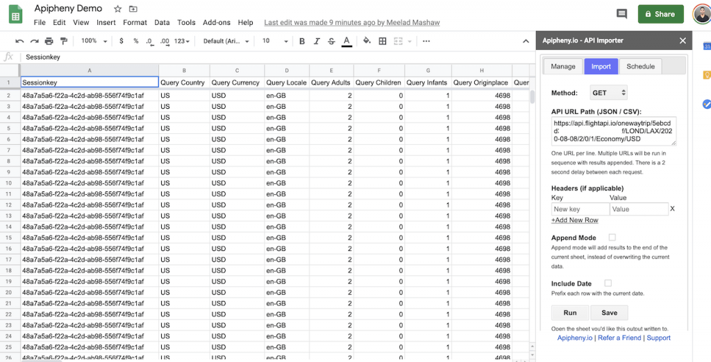 Flight price data in Google Sheets
