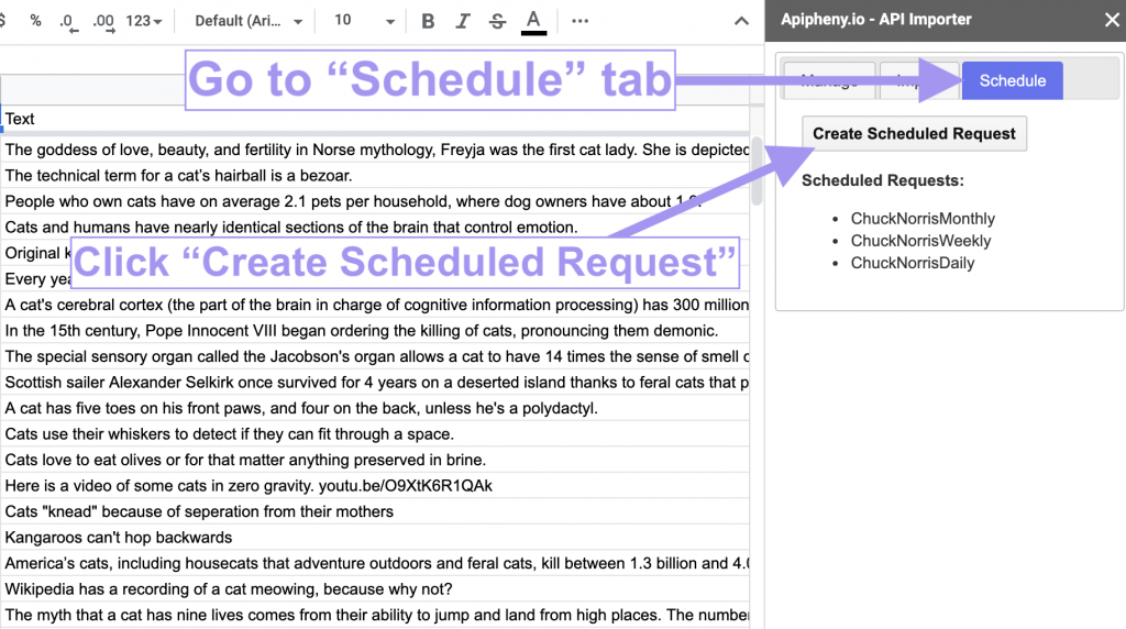 Creating a scheduled request in Google Sheets