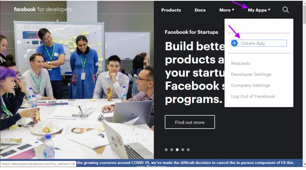Facebook - create API app page