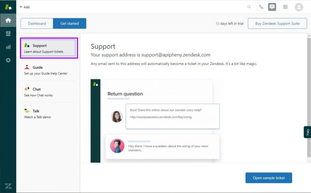 Go to the support page in your Zendesk account
